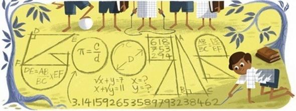 لوگوی گوگل به مناسبت 125 اُمین سالروز تولد رامانوجان